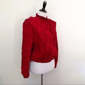 1980s Red Suede Coat Triangle Shoulders Vtg Medium